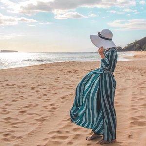 Blue white stripe maxi dress beach cover up wrap S